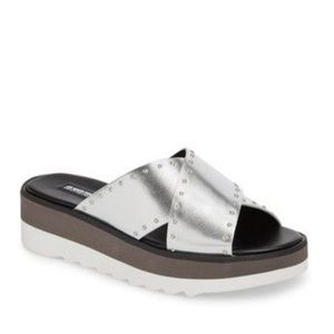 CHARLES DAVID Buxom stud slide sandals silver NEW